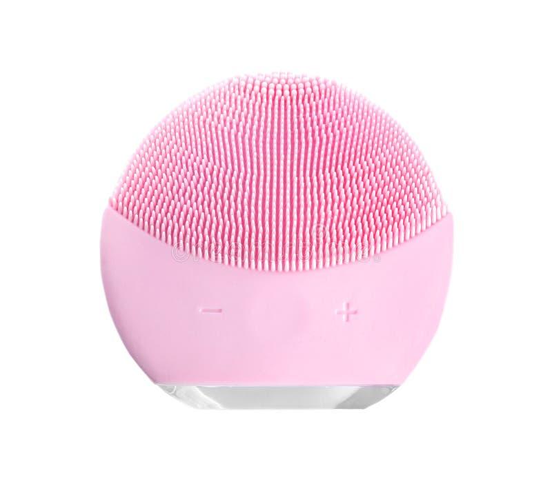 Moderne elektrische Bürste zur Reinigung der Gesichtshaut, auf weißer, oberer Seite isoliert Kosmetikwerkzeug stockfotografie