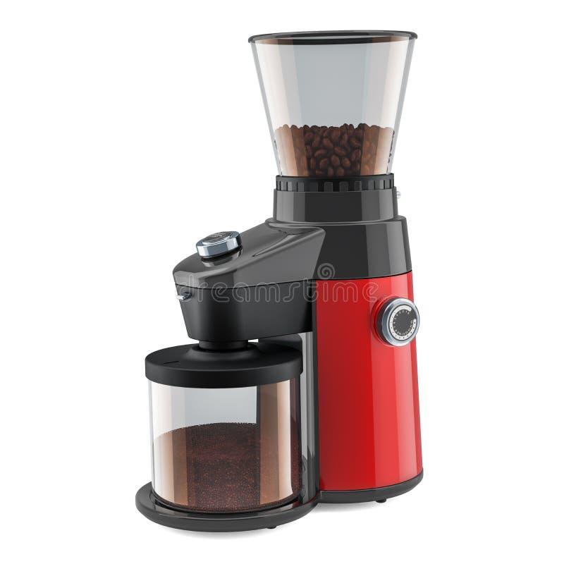 Moderne elektrische koffiemolen met koffiebonen, het 3D teruggeven stock illustratie