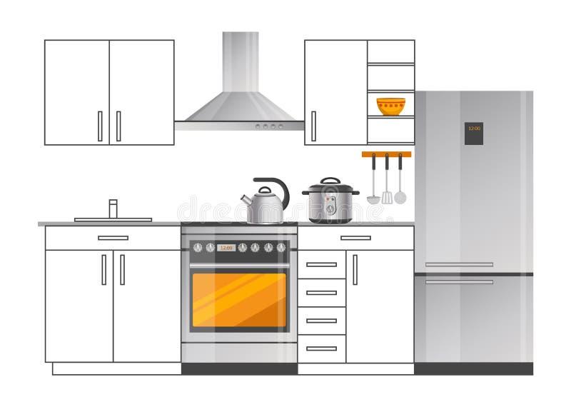 Moderne Elektrogeräte im Küchen-Innenraum stock abbildung
