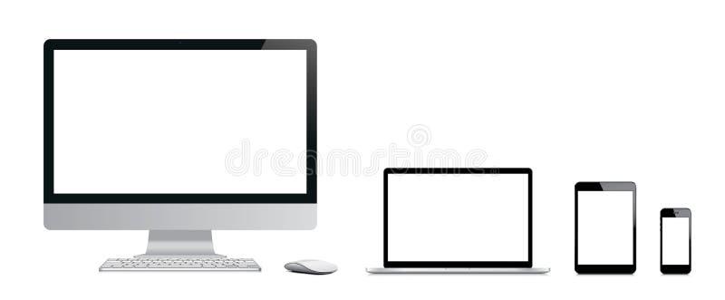 Moderne elektronische apparaten. royalty-vrije illustratie