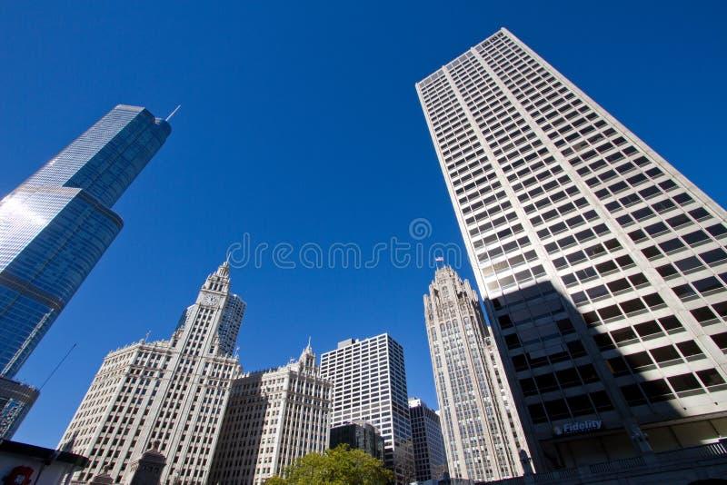 Moderne en Oude de Gebouwencityscape van de binnenstad van Chicago royalty-vrije stock foto's
