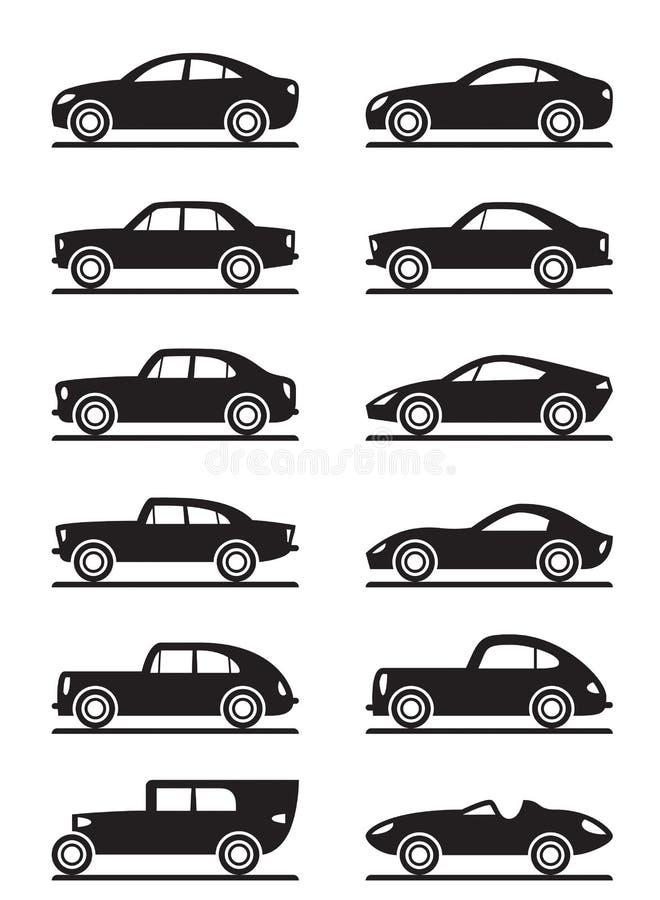 Moderne en uitstekende auto's stock illustratie
