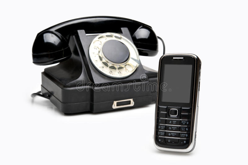 Moderne en uitstekende telefoons royalty-vrije stock afbeeldingen