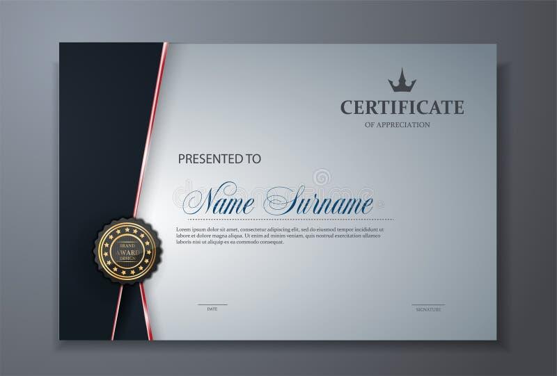 Moderne erstklassige Zertifikatpreis-Designschablone stock abbildung