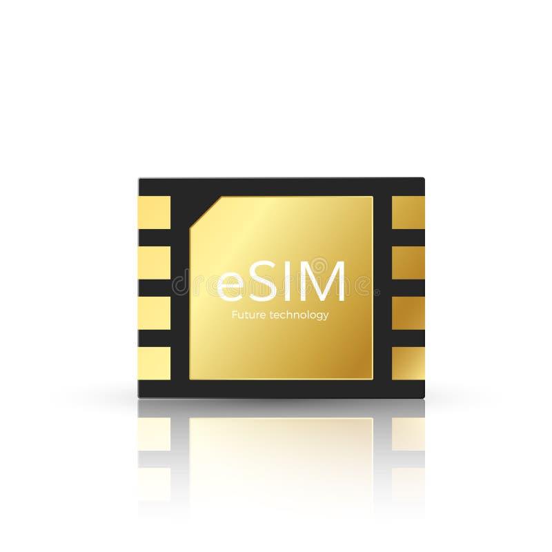 Moderne ESIM en tetechnology van toekomst Ingebed het symboolconcept van het Simkaartpictogram gsm telefoon mobiel netwerk simcar stock illustratie