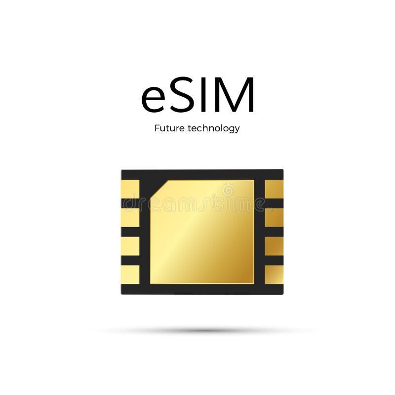 Moderne ESIM en tetechnology van toekomst Ingebed het symboolconcept van het Simkaartpictogram gsm telefoon mobiel netwerk simcar vector illustratie
