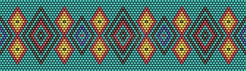 In, moderne etnische gepareld, grens, patroon, borduurwerkkruis, diamanten, streep stock illustratie