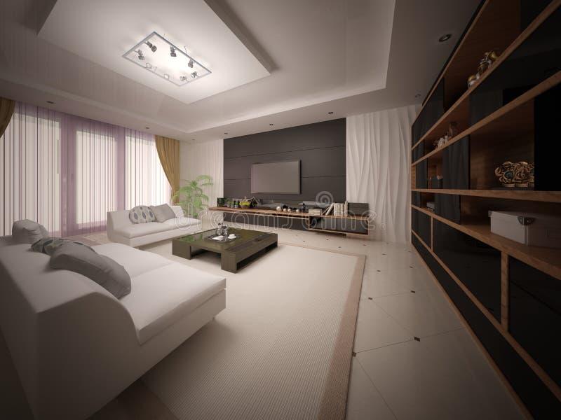 Moderne exclusieve woonkamer met modieus comfortabel meubilair royalty-vrije stock afbeeldingen