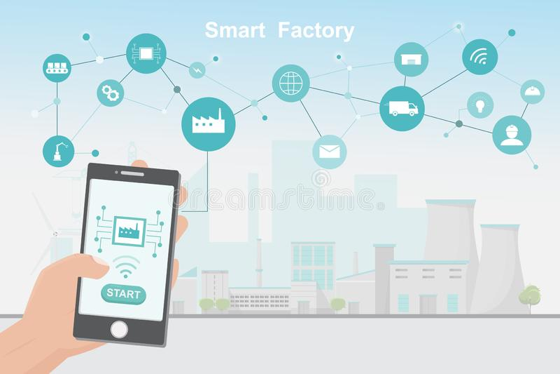 Moderne Fabrik 4 0, intelligente automatisierte Fertigung vom Smartphone vektor abbildung