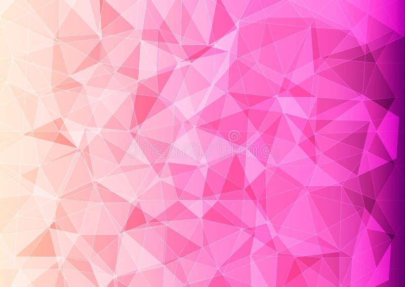 Moderne Fahne mit polygonalem Muster der rosa Farbe stock abbildung