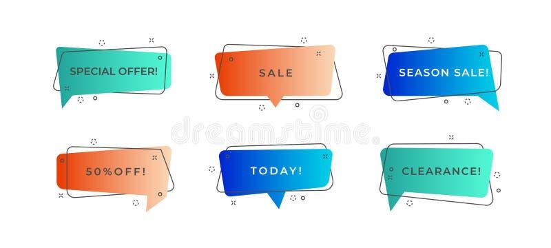 Moderne Fahnenformen Skizzieren Sie geometrische Verkaufsblasen der Form Förderungsfahnen-Rabattflieger des Vektors flache, modis lizenzfreie abbildung
