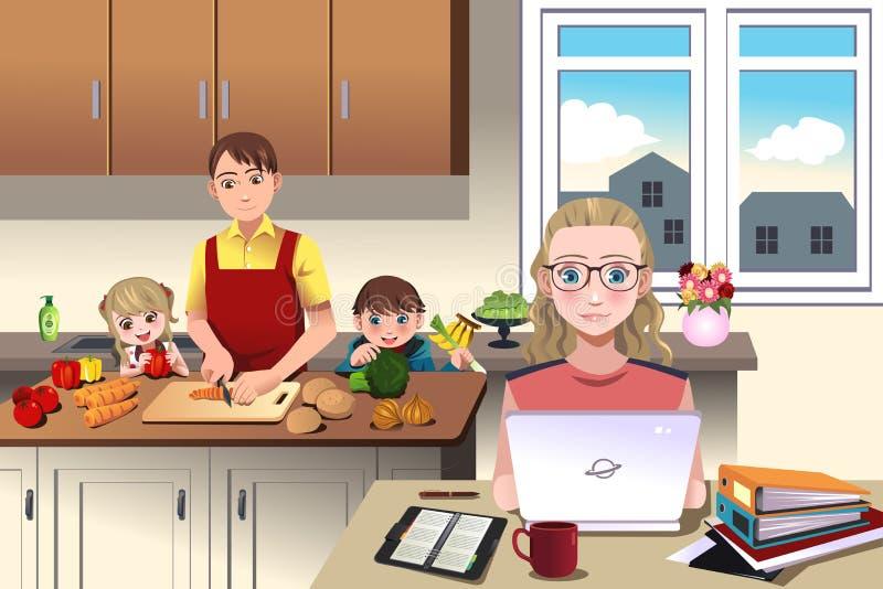 Moderne Familie zu Hause lizenzfreie abbildung