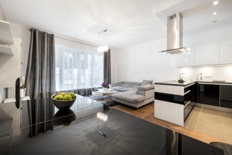 Moderne familieruimte in een privé woonplaats royalty-vrije stock afbeelding