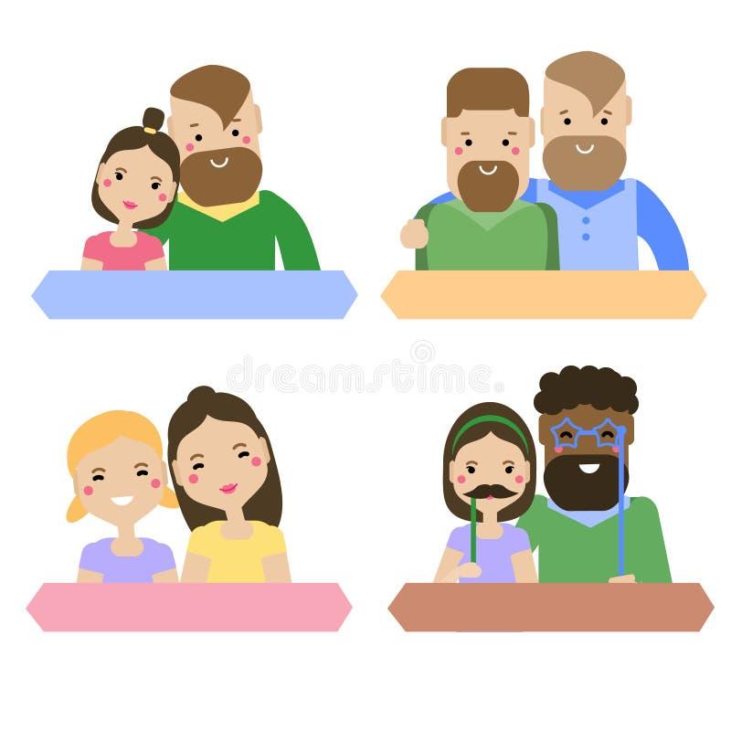 Moderne familietypes Heteroseksuele en homoseksuele paren Lesbische, vrolijke en rechte wijfjes en mannetjes stock illustratie
