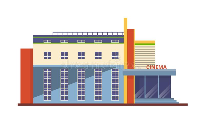 Moderne Fassade des Kinogebäudes, Architekturstruktur für Erholung, Unterhaltung stock abbildung