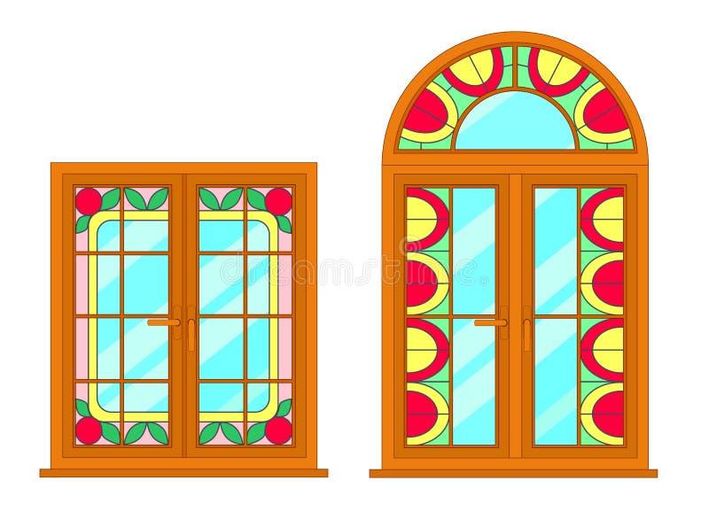 Moderne Fenster des Vektors mit Buntglasmotiv lizenzfreie abbildung