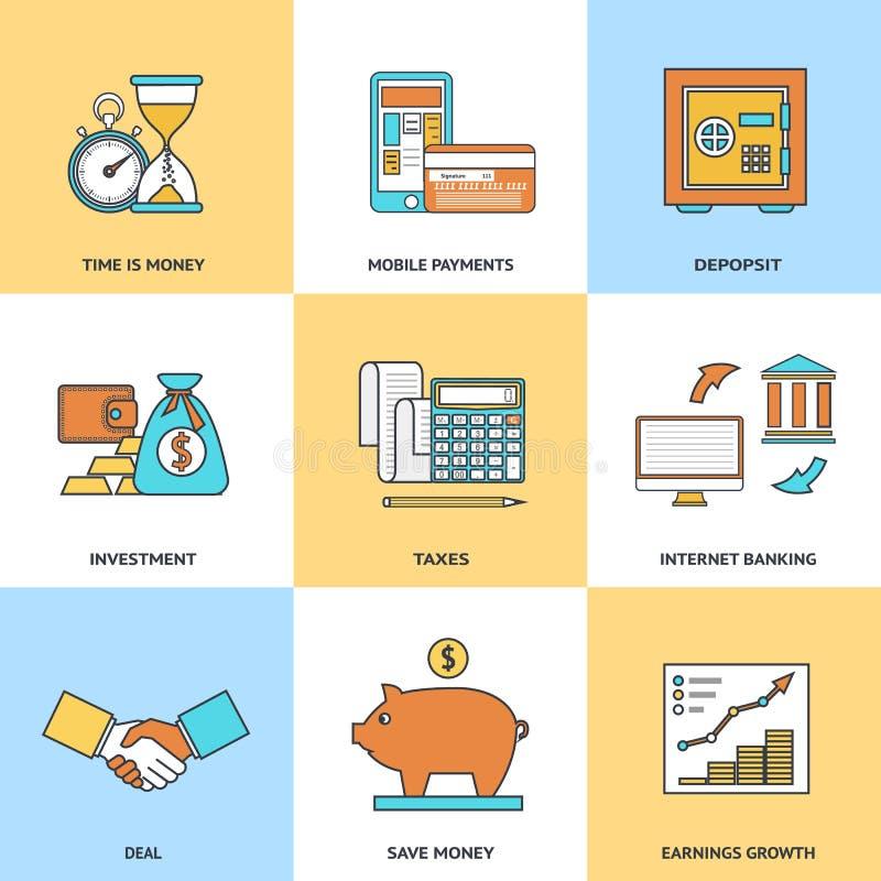 Moderne Finanzlinie Ikonen vektor abbildung