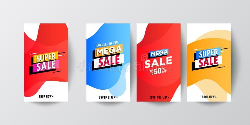 Moderne flüssige bewegliche Verkaufsfahnenschablone eingestellt für das on-line-Einkaufen lizenzfreie abbildung