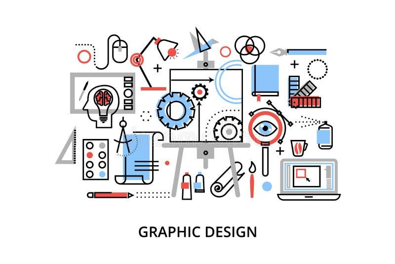 Moderne flache dünne Linie Designvektorillustration, infographic Konzept des Grafikdesigns, Designereinzelteile und Werkzeuge lizenzfreie abbildung