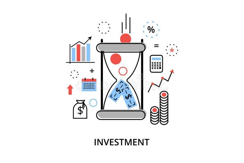 Moderne flache dünne Linie Designvektorillustration, infographic Konzept mit Ikonen der Investierung zum Geschäft und Finanzproze lizenzfreie abbildung