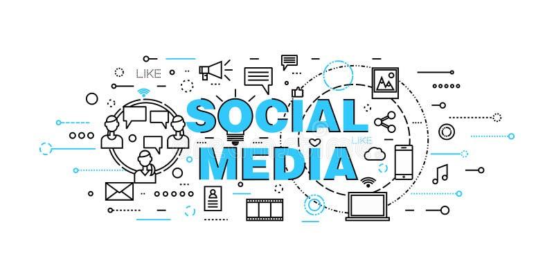 Moderne flache dünne Linie Designvektorillustration, Konzept des Social Media, Social Networking, Netz communtity und Aufgabennac lizenzfreie abbildung