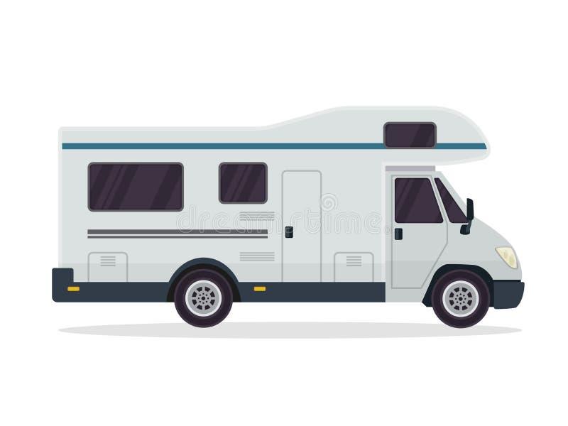 Moderne flache Fahrzeug-Illustration RV Motorhome lizenzfreie abbildung