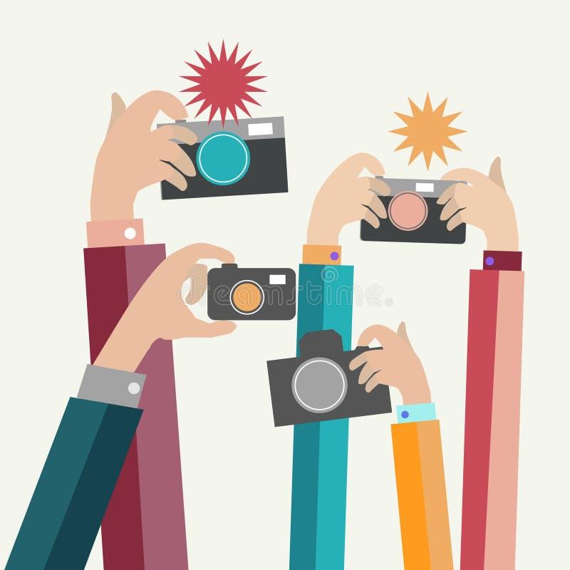 Moderne flache Fotografhände mit Geräten machen Foto vektor abbildung