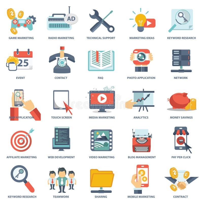 Moderne flache Ikonen vector Sammlung in den stilvollen Farben von Webdesigngegenständen, von Geschäft, von Büro und von Marketin lizenzfreie abbildung