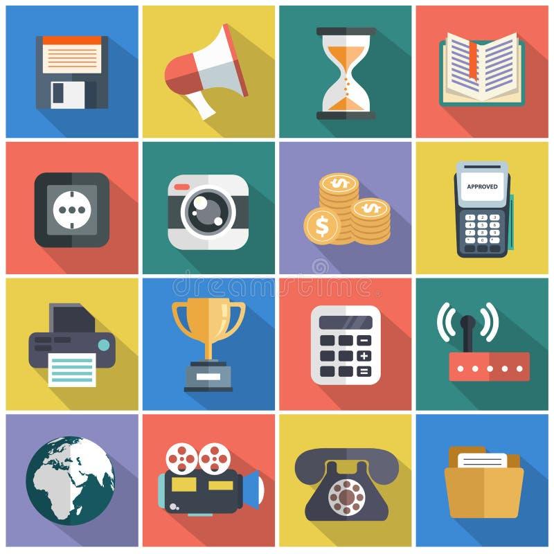 Moderne flache Ikonen vector Sammlung mit langem Schatteneffekt in den stilvollen Farben von Webdesigngegenständen, Geschäft, Bür lizenzfreie abbildung