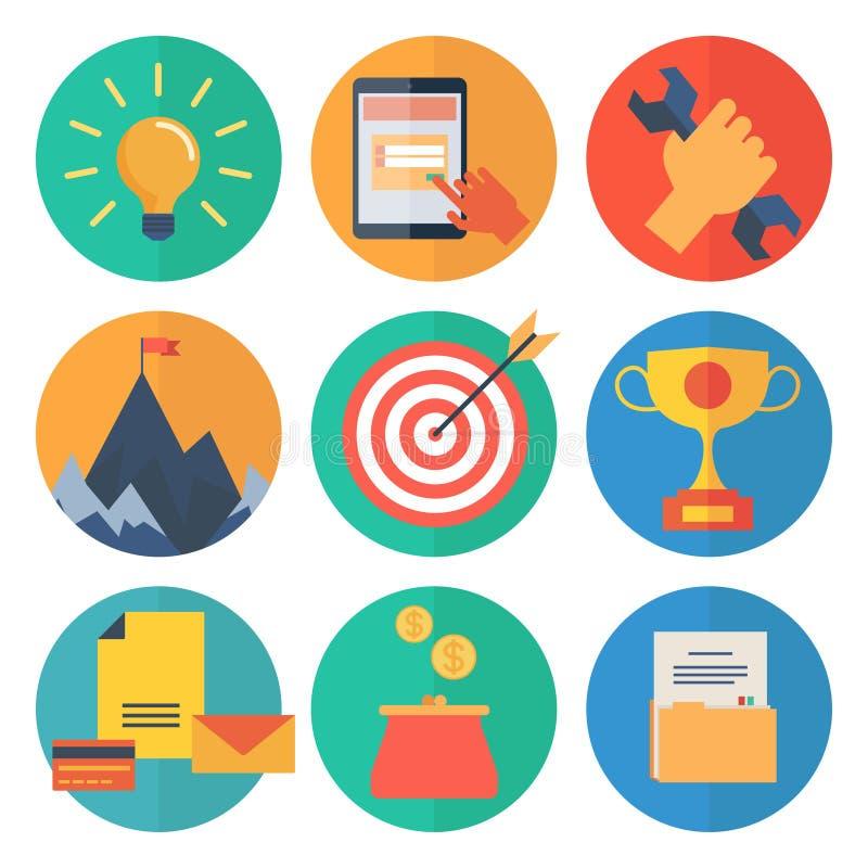 Moderne flache Ikonen vector Sammlung, Webdesigngegenstände, Geschäft, Büro und Marketing-Einzelteile lizenzfreie abbildung