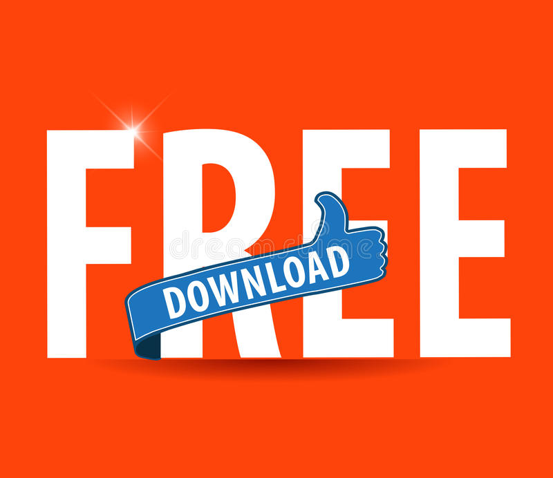 Moderne flache Illustration der Typografie des kostenlosen Downloads mit den Daumen up Zeichen lizenzfreie abbildung