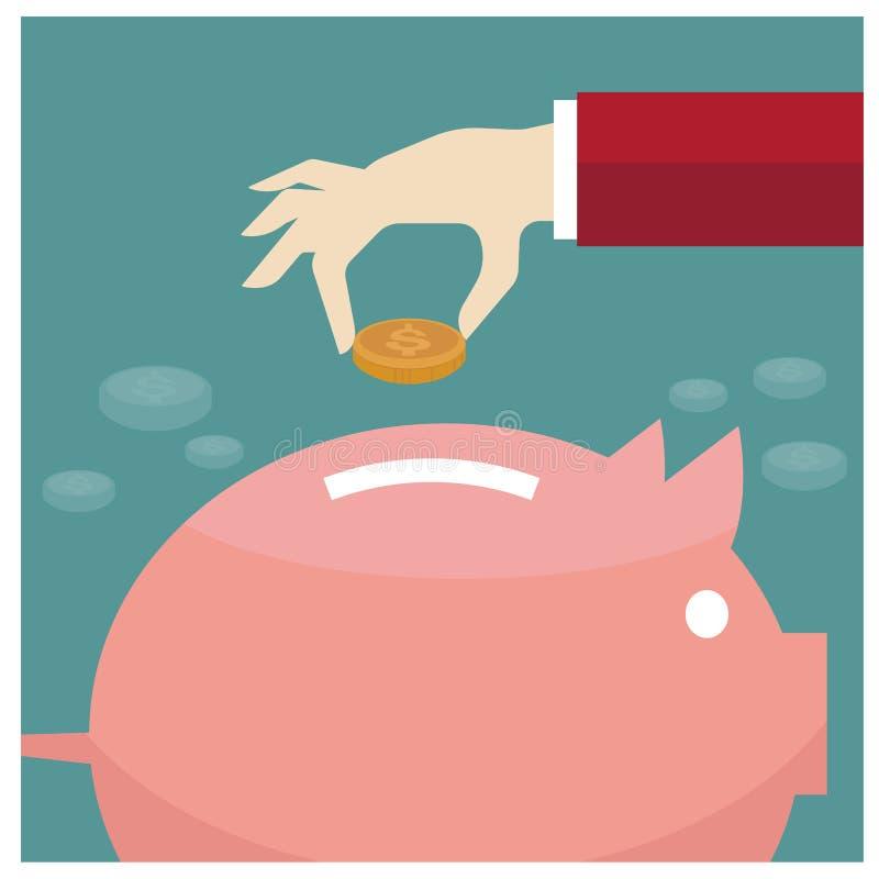 Moderne flache Illustration des Vektors an Hand, die den gesetzten Geldkasten glücklich setzt stock abbildung