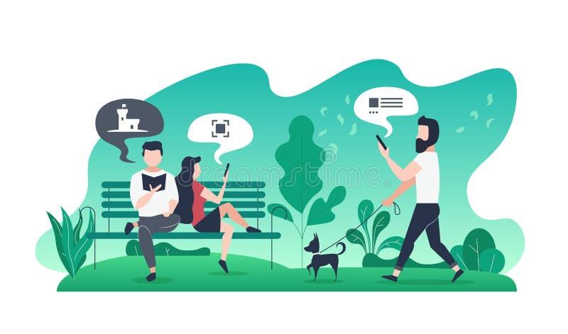 Moderne flache Illustration mit Paaren auf Bank im Park und Kerl mit Hund auf Weg lizenzfreie abbildung