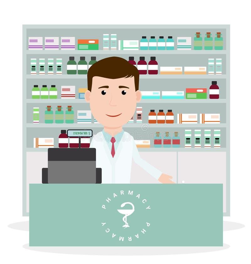 Moderne flache Vektorillustration eines männlichen Apothekers, der nahe Registrierkasse steht und Medizinbeschreibung am Zähler z lizenzfreie abbildung