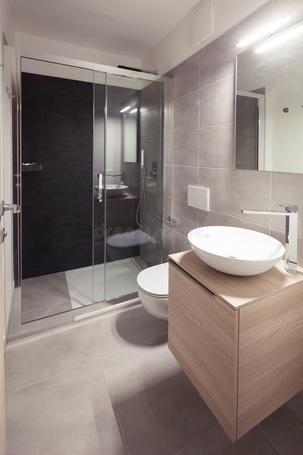Moderne flat, luxuriustoilet Niemand binnen royalty-vrije stock foto's