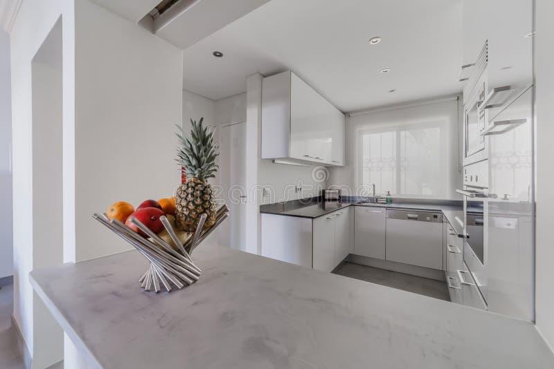 Lichtgrijze Houten Vloer : Moderne flat met witte muren en lichtgrijze vloer stock foto