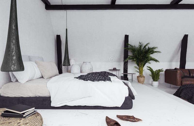 Moderne flat zonder tussenmuren in zolder, zolderstijl royalty-vrije illustratie