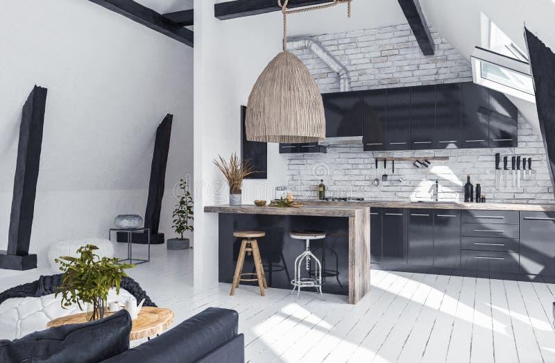 Moderne flat zonder tussenmuren in zolder, zolderstijl stock foto's