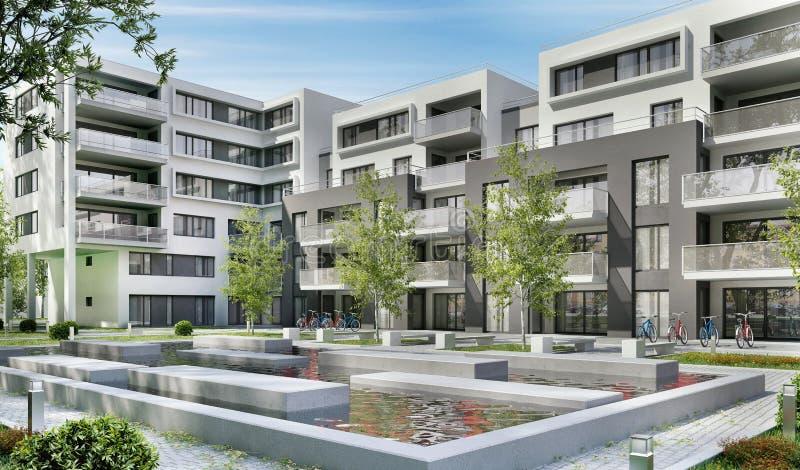 Moderne flatgebouwen in een groene woonwijk in de stad stock afbeelding