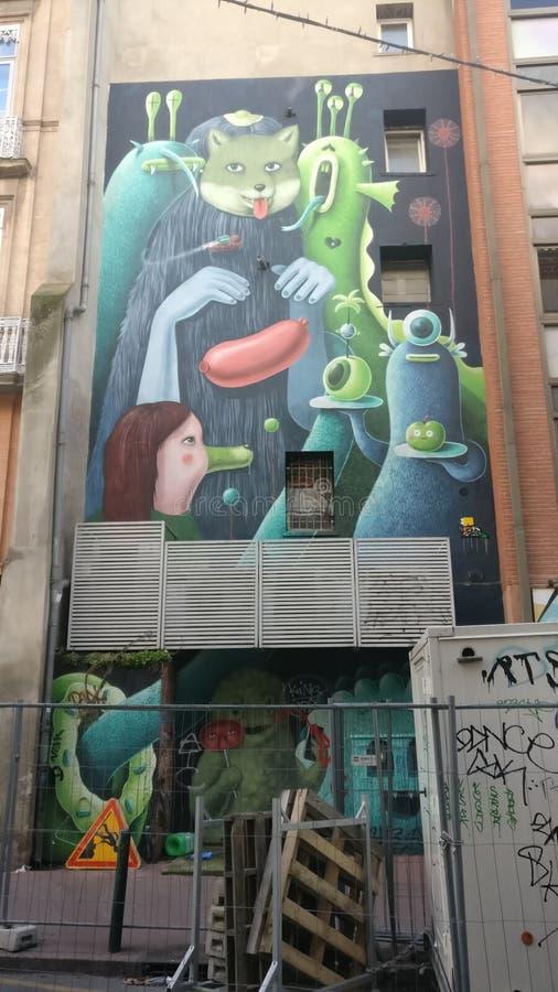 Moderne Franse graffiti stock foto's