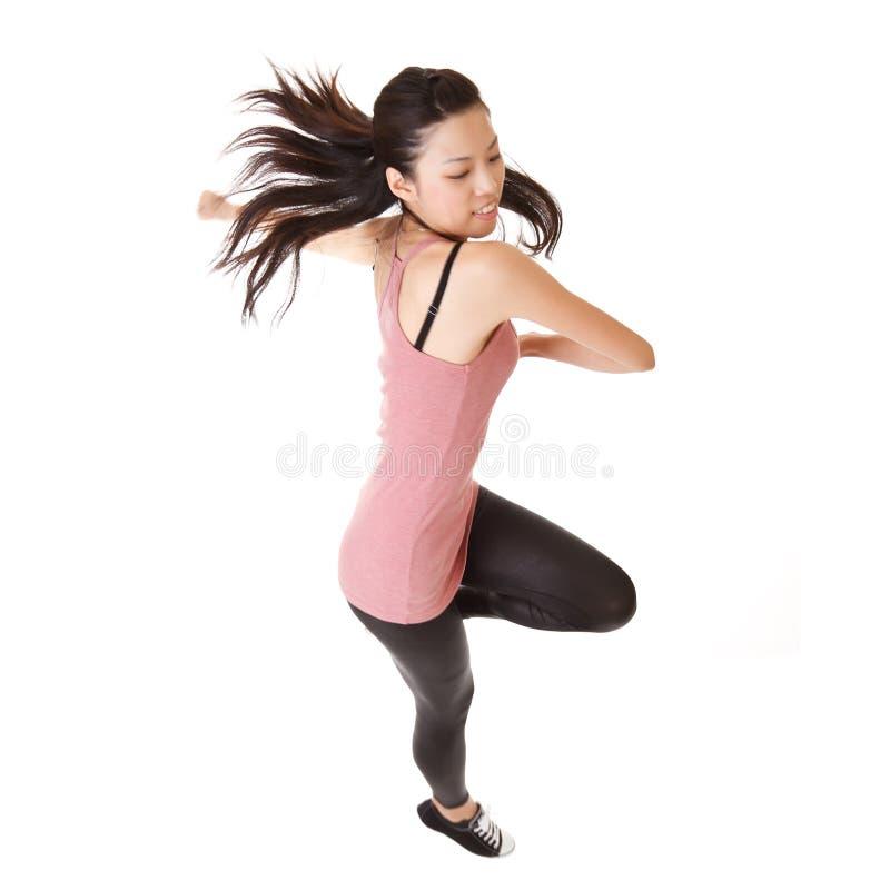 Moderne Frau springen stockfoto