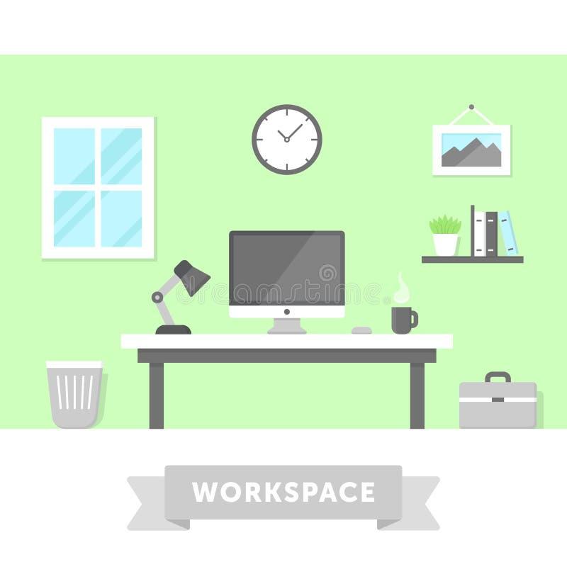 Moderne Freelancer-Werkruimte stock illustratie