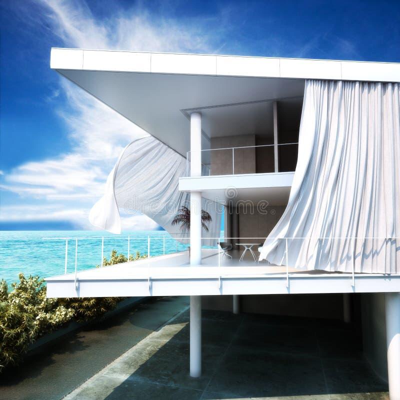 Moderne Freilichtarchitektur mit einem Meerblick lizenzfreie abbildung