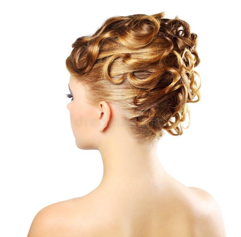Moderne Frisur getrennt auf einem Weiß lizenzfreies stockfoto