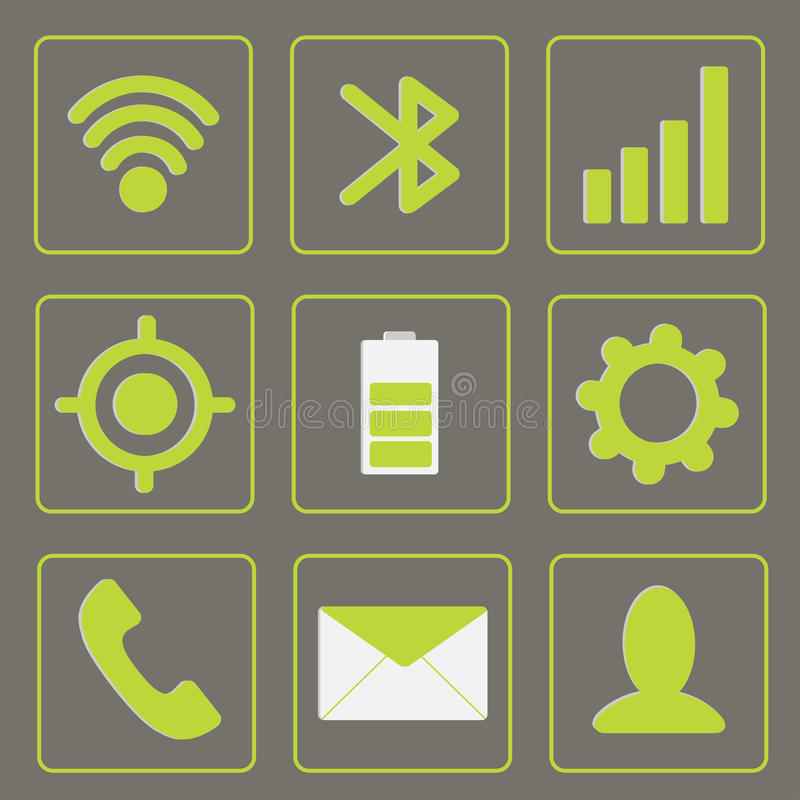 Moderne gadgetpictogrammen. Mobiele pictogramreeks. Groen en gr. stock illustratie