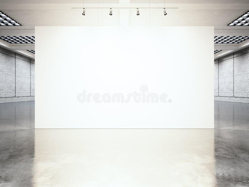 Moderne Galerie der Bildausstellung, offener Raum Zeitgenössischer industrieller Platz des leeren weißen leeren Segeltuches Einfa lizenzfreie stockfotos