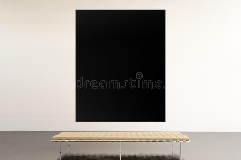 Moderne Galerie des Fotoausstellungs-Raumes Hängendes Museum der zeitgenössischen Kunst des enormen schwarzen leeren Segeltuches  stockfoto