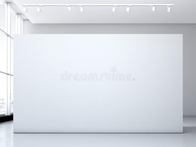 Moderne Galerie mit weißer Wand Wiedergabe 3d stock abbildung
