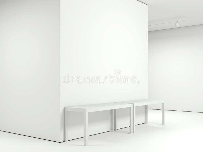 Moderne Galerie mit zwei leeren Tabellen Wiedergabe 3d lizenzfreies stockbild