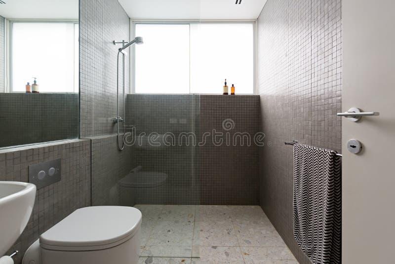 Moderne gang in douche met tegels van de mozaïek de volledige hoogte royalty-vrije stock afbeelding